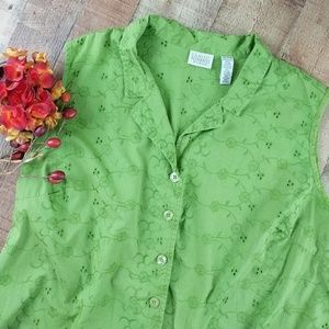Sleeveless Top Button Down Floral Size 20/22W